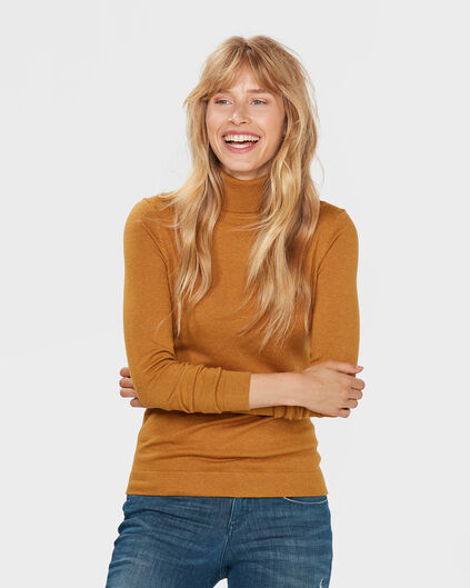 DAMES ROLL NECK TRUI Mosterdgeel