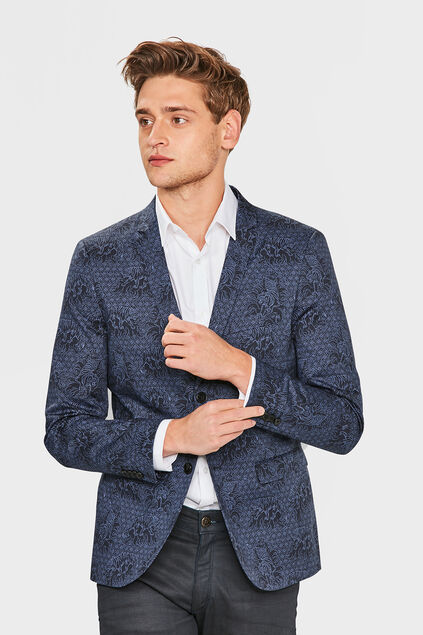 HEREN SKINNY FIT TIGER BLAZER Marineblauw