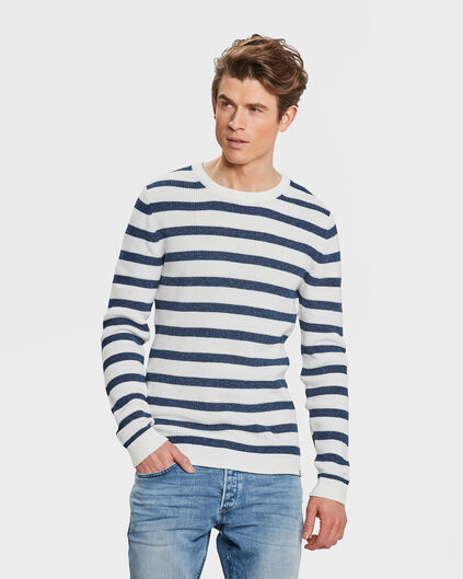 HEREN STRIPE TRUI Wit
