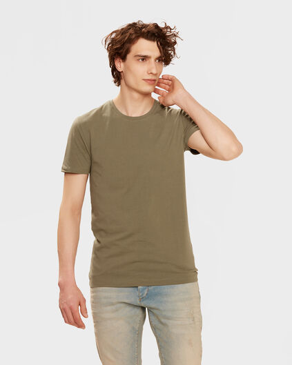 HEREN R-NECK T-SHIRT Legergroen