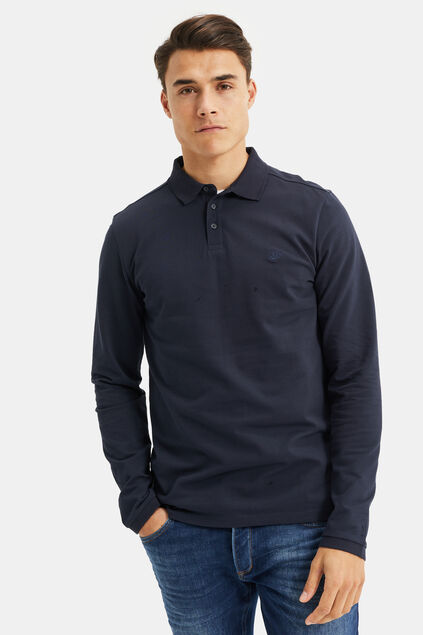 Heren slim fit polo Donkerblauw