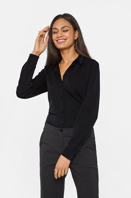 Dames slim fit blouse Zwart