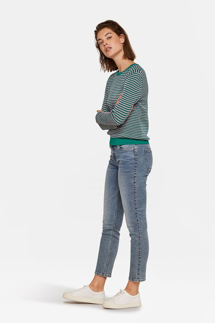 DAMES MID RISE SLIM HIGH STRETCH JEANS Grijsblauw