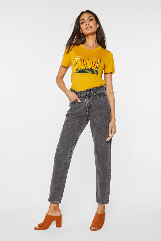 Dames high rise tapered jeans Donkergrijs