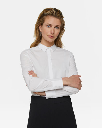 DAMES SLIM FIT POPLIN BLOUSE Wit