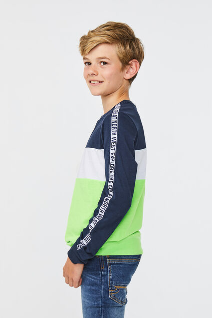 Jongens colourblock T-shirt Felgroen