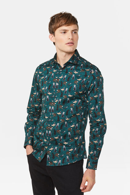 Heren slim fit dessin overhemd All-over print