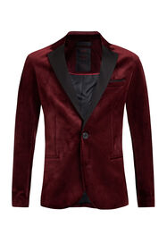 Jongens velvet slim fit blazer_Jongens velvet slim fit blazer, Bordeauxrood