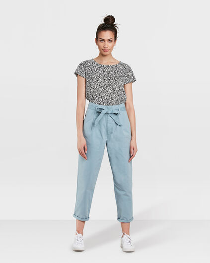 DAMES TAPERED HIGH WAIST PAPERBAG CHINO CROPPED BROEK Grijsblauw