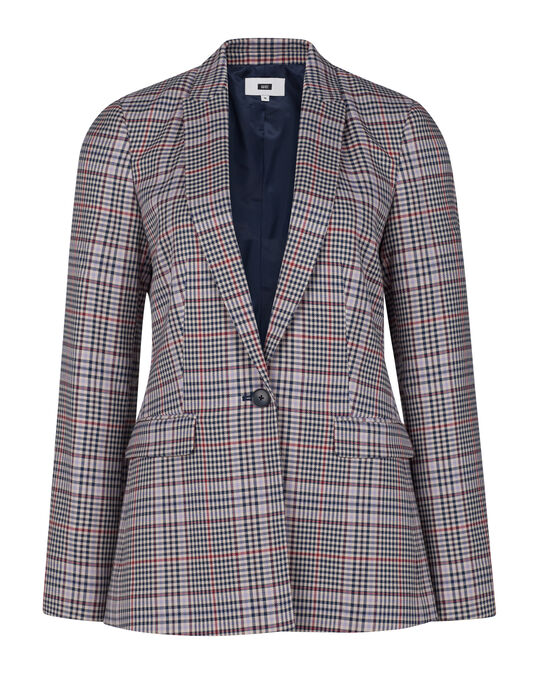 Dames regular fit geruite blazer All-over print