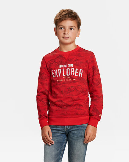 JONGENS EXPLORER PRINT SWEATER Donkerrood