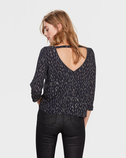 DAMES SPECKLE PRINT BLOUSE Marineblauw