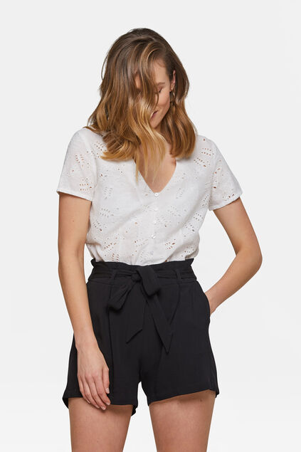 Dames broderie top Wit