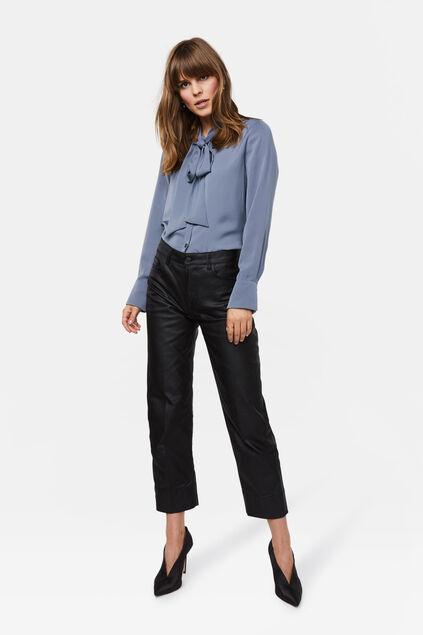 Dames high rise straight leg coated jeans Zwart