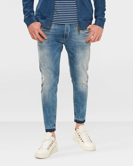 HEREN SKINNY CROPPED TAPERED SUPER STRETCH JEANS Blauw