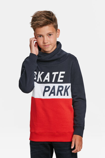 JONGENS SKATEPRINT COLOURBLOCK SWEATER Marineblauw