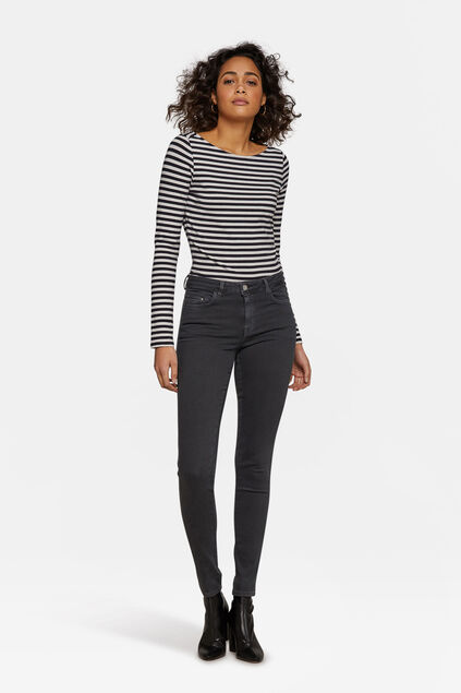 Dames mid rise skinny jeans Lichtgrijs