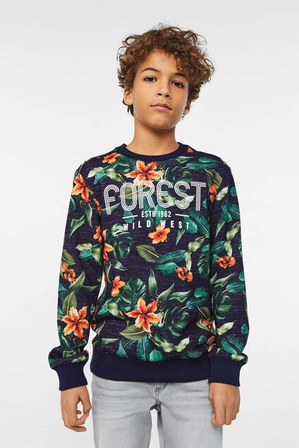 Jongens sweater met bladerenprint All-over print