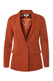 Dames regular fit blazer met stretch_Dames regular fit blazer met stretch, Roestbruin