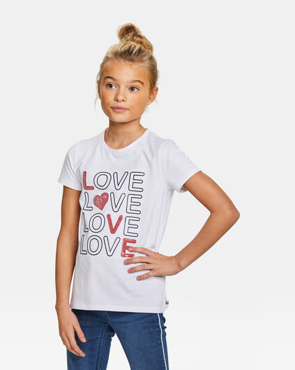Meisjes pailletten love dessin T-shirt Wit