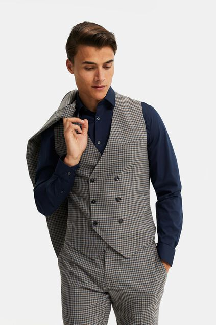 Heren geruit double-breasted gilet, Carey Grijs