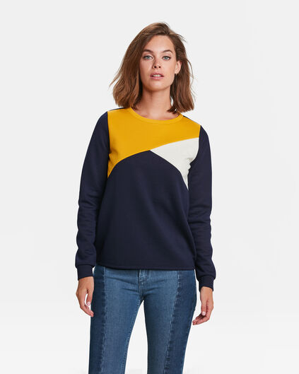 DAMES COLOUR BLOCK SWEATER Donkerblauw