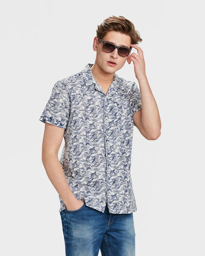 HEREN RELAXED FIT FISH PRINT OVERHEMD Blauw
