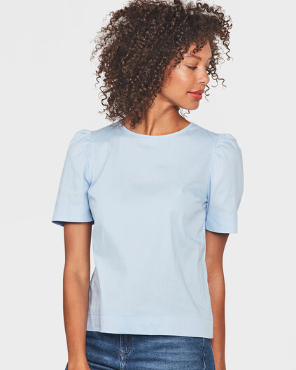 DAMES PLEAT DETAIL TOP Pastelblauw