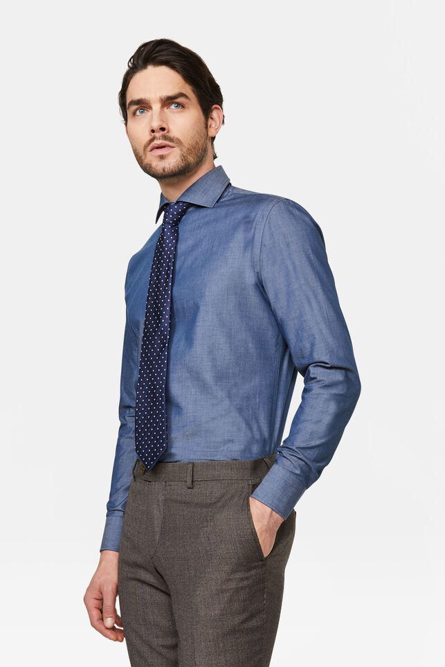 Heren slim fit overhemd Blauw