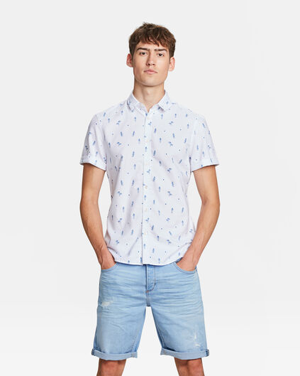 HEREN SLIM FIT HAWAI PRINT OVERHEMD Wit
