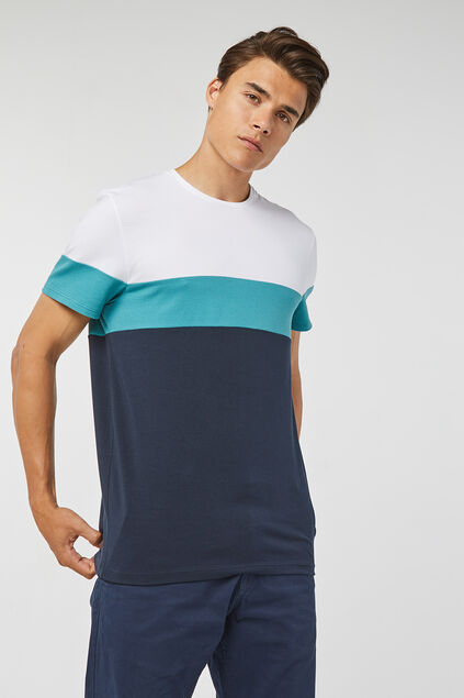 Heren colourblock pique T-shirt Donkerblauw