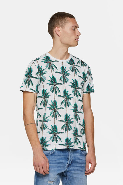 Heren palmdessin T-shirt Wit
