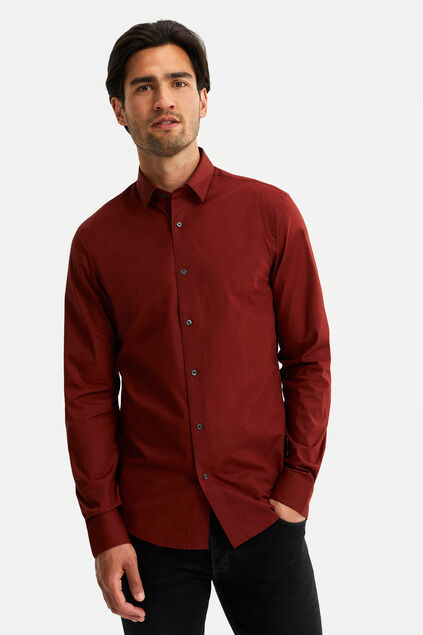Heren slim fit overhemd met stretch Bordeauxrood