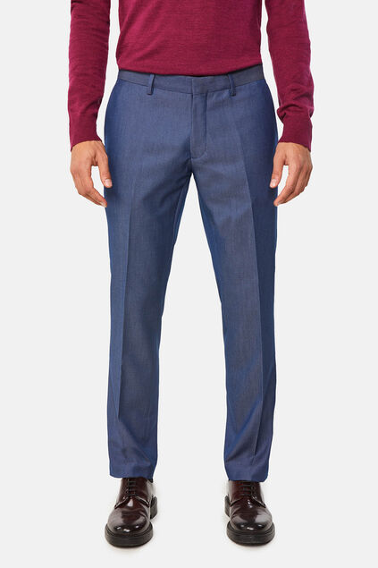 Heren skinny fit pantalon met dessin Salem Marineblauw