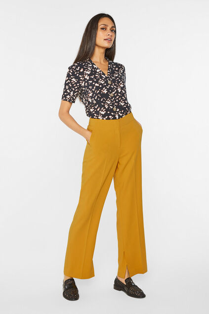 Dames wide leg pantalon met high waist Mosterdgeel