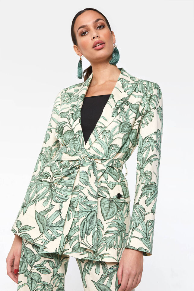 Dames blazer van linnenmix All-over print