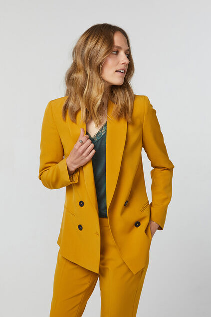 Dames loose fit double breasted blazer Okergeel