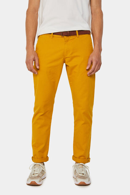 Heren slim tapered effen chino Mosterdgeel