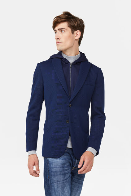 Heren Slim fit capuchon blazer Marineblauw
