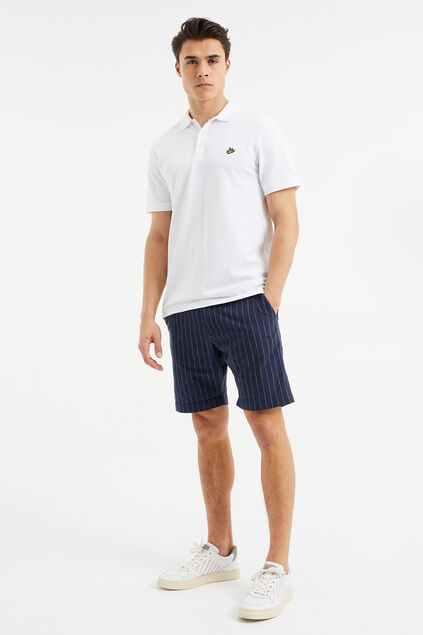 Heren regular fit chino short met krijtstreep Donkerblauw