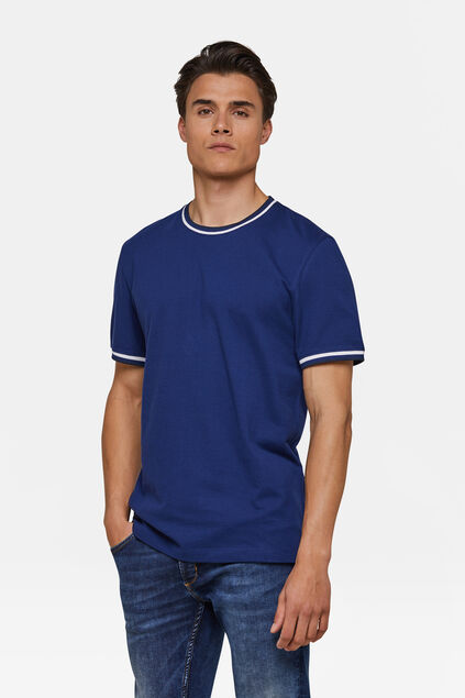 Heren sporty stripe T-shirt Kobaltblauw