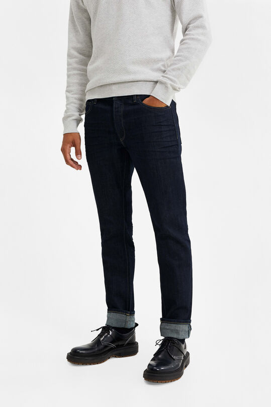 Heren slim fit jeans met comfort stretch Donkerblauw