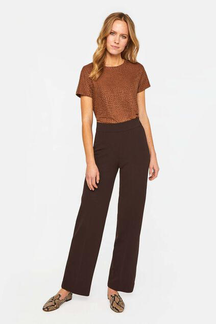 Dames wide leg pantalon Donkerbruin