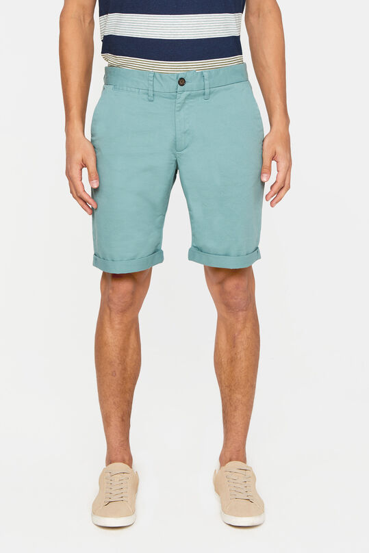 Heren slim fit chinoshort met stretch Grijsgroen