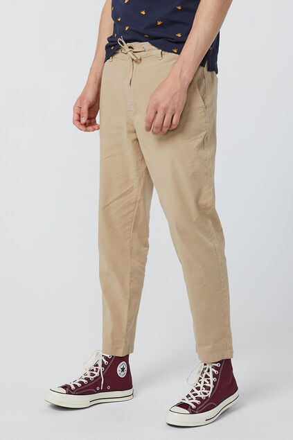 Heren loose tapered chino van linnenmix Beige